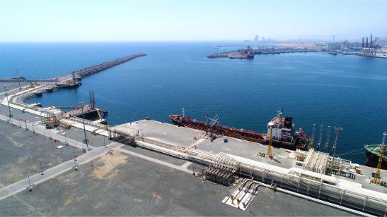 Aerial View of Bunker Barge Berths